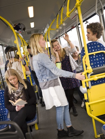 Large group of People going by bus Stock Photo - 11223910