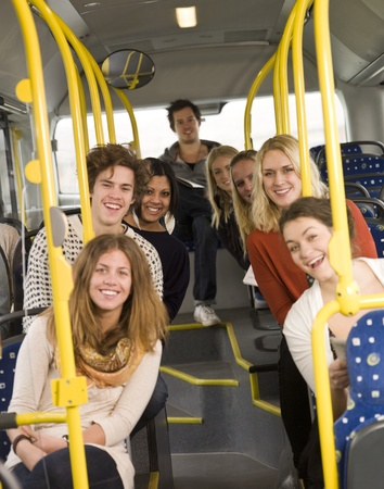 commuters: Happy people on the bus
