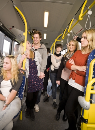 Group of people on the bus photo