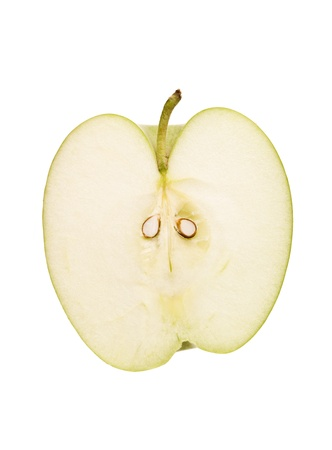 pits: Apple cut in half isolated on white background Stock Photo