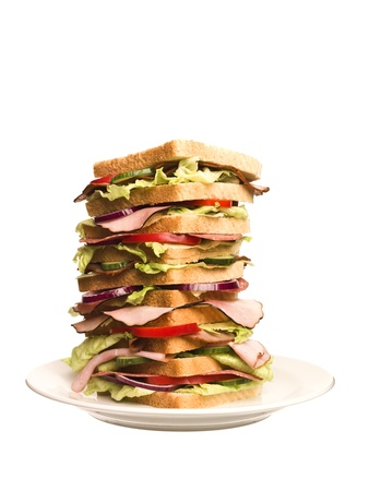 portions: Oversized sandwich isolated on white background Stock Photo