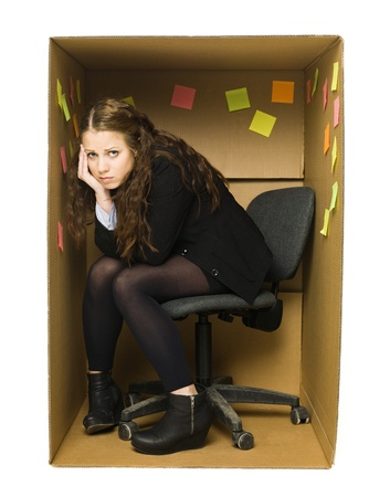 Deppressed woman in a Cardboard Box office photo