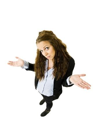 persona confundida: Mujer inocente a la vista de ángulo alto Foto de archivo
