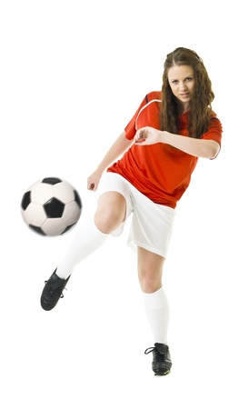 teens playing: Soccer Woman isolated on white background Stock Photo