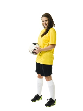 women playing soccer: Soccer Woman isolated on white background Stock Photo
