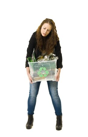 Glass Recycling Woman isolated on white background photo