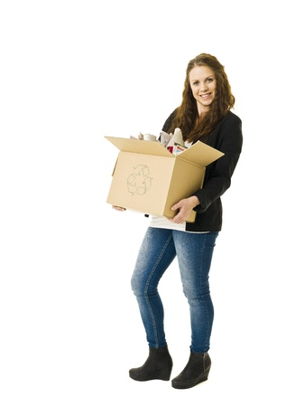 cardboard only: Woman Recycling Paper isolated on white background