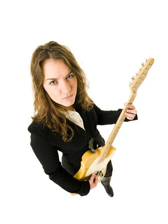 Woman with Electric Guitar from High Angle view photo