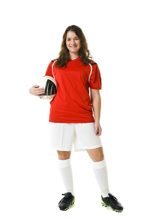 football shoes: Soccer Woman isolated on white background Stock Photo