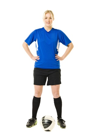 Soccer Woman isolated on white background Stock Photo - 11741099