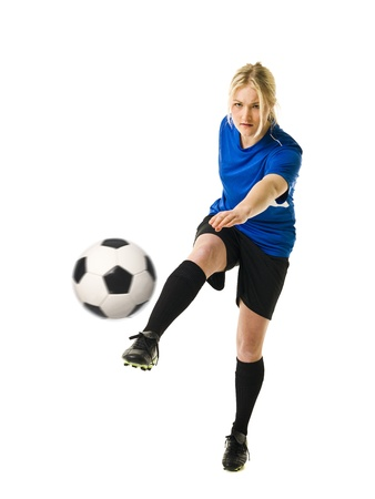 females only: Soccer Woman isolated on white background Stock Photo