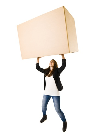 strong growth: Woman with a very large Cardboard Box over her Head