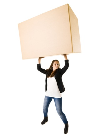 strong toughness: Woman with a very large Cardboard Box over her Head
