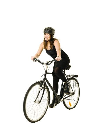 Woman on a bicycle isolated on white background Stock Photo - 11741393