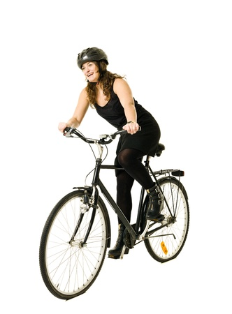 Woman on a bicycle isolated on white background Stock Photo - 11741405
