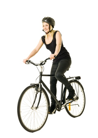 Woman on a bicycle isolated on white background Stock Photo - 11741396