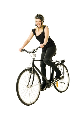 executive helmet: Woman on a bicycle isolated on white background