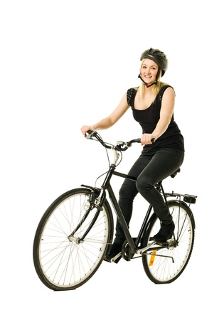 Woman on a bicycle isolated on white background Stock Photo - 11741401