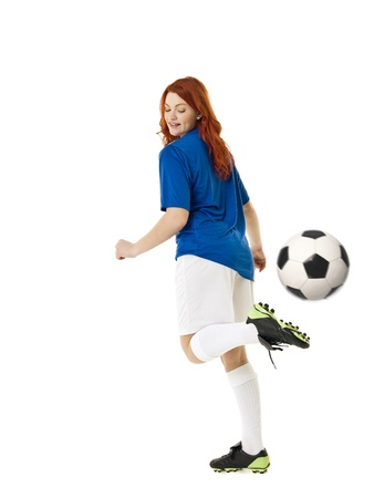 women playing soccer: Soccer woman isolated on white background
