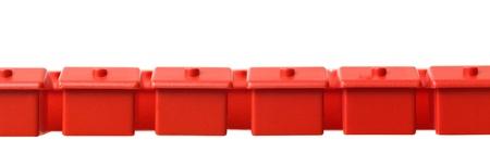 Row of Toy house on white background photo