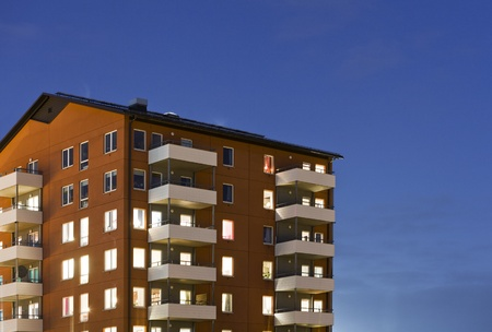 building feature: Apartment building at Night time