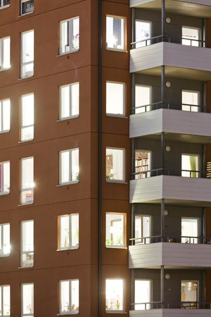 Apartment building at Night time Full Frame Stock Photo - 12272038