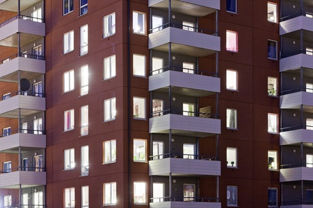 Apartment building at Night time Full Frame Stock Photo - 12272040