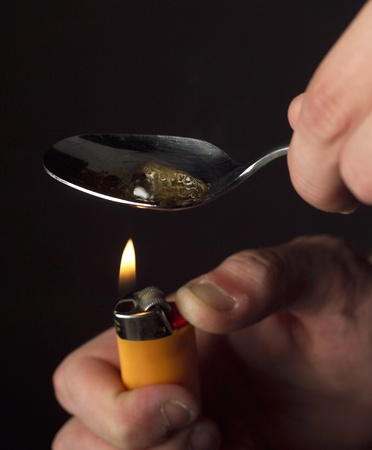 Close up of making heroin photo