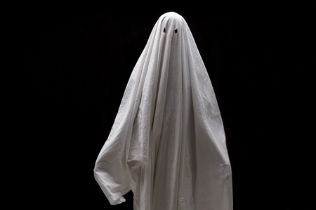 one sheet: White Ghost on Black Background