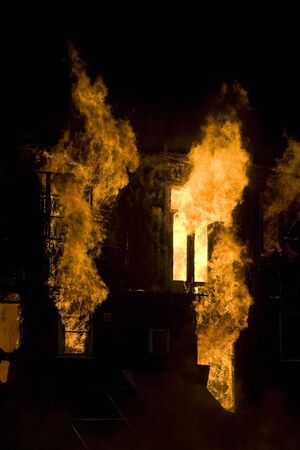 burning house: Apartment building on Fire at Night time