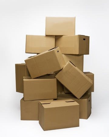 packing supplies: Stack of Cardboard Boxes isolated on white background