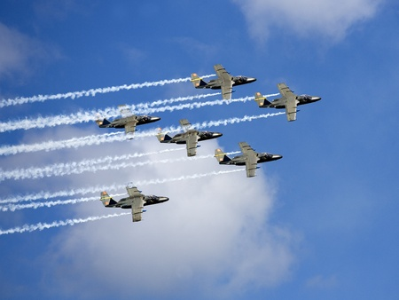 Formation of Military Airplanes on blue sky Stock Photo - 12303326