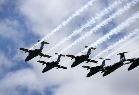 Formation of Military Airplanes on blue sky Stock Photo - 12303364