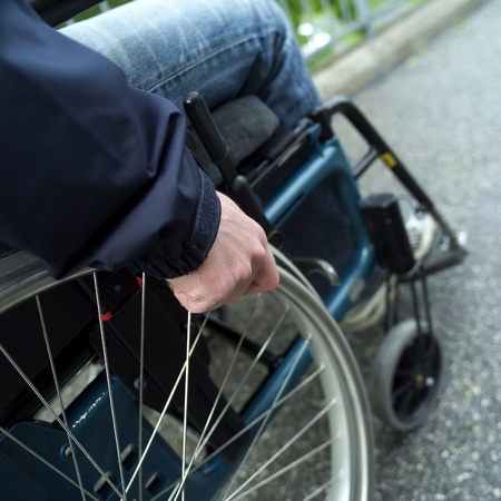 Close up of a man in wheel chair