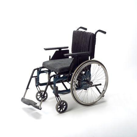 impairment: Wheel chair isolated on white background Stock Photo