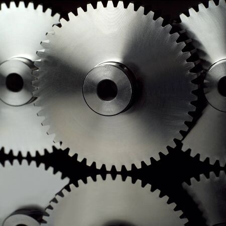 Industry wheels on black background photo