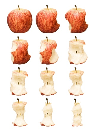 eaten: Time Lapse of a red apple on white background Stock Photo