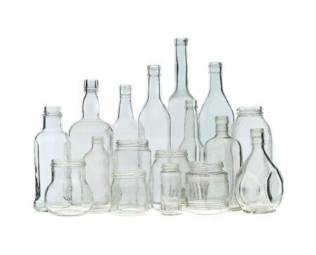 Group of bottles isolated on white background photo