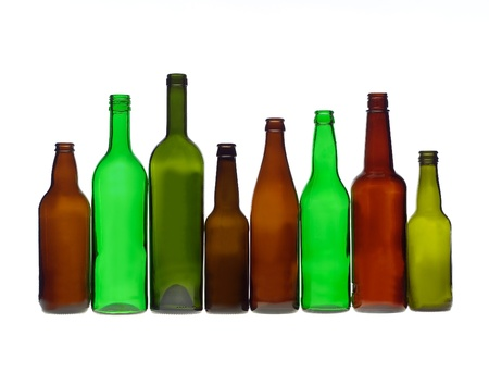 colored bottle: Group of bottles isolated on white background