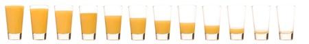 verre de jus d orange: Laps de temps d'un verre de jus d'orange Banque d'images