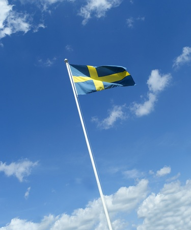Swedish flag towards blue sky photo