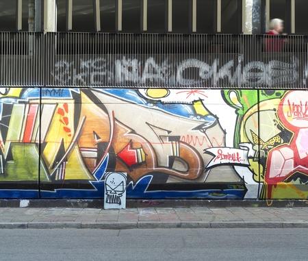 City scene with a Graffitti Wall