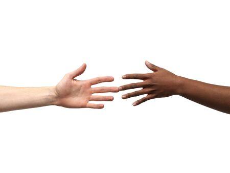 racismo: La mano en blanco y negro aislado