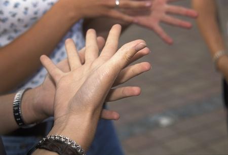 Group of people using sign Language Stok Fotoğraf