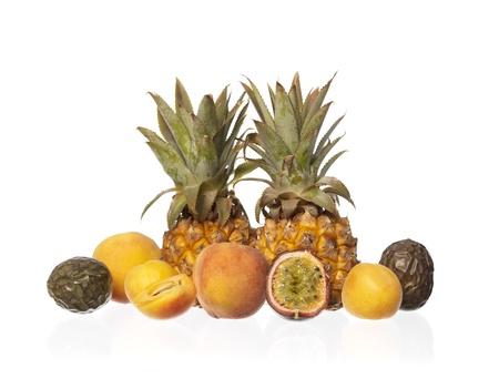 Group of Exotic Fruits isolated on white background photo