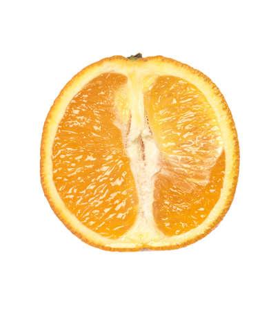 Orange cut in half isolated on white background photo