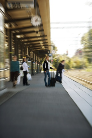 Travelling Woman at the Train Station