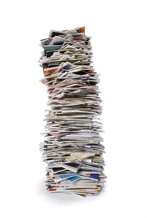 magazine stack: Stack of Magazines isolated on white background