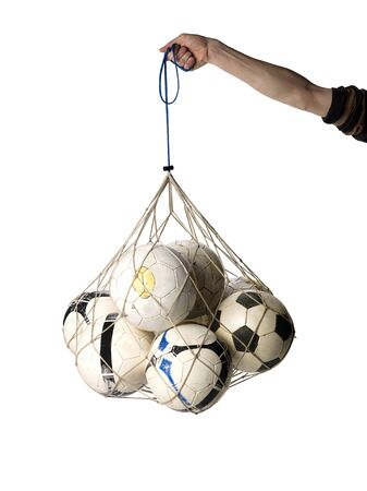 Net with Soccer Balls on white background Stock Photo - 12822253
