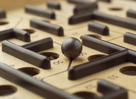 játék: Közelkép egy labirintus játék Stock fotó